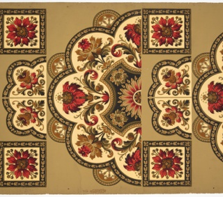 Floral design with rosette in center, rendered as half medallion, also includes two square bosses and two floral quarter ornaments. Printed in colors on greenish-ocher ground.