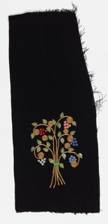 Floral bouquet motif with couched gold braid stems, gold leaf-shaped sequins anchored with rows of green seed beads, flower-shaped molded glass beads in red, pink, periwinkle, and blue each anchored with a yellow seed bead, on black crepe ground.