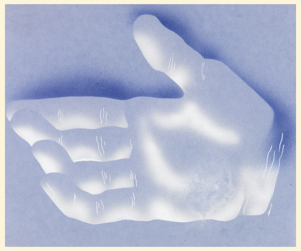 """Study of an open right hand, with fingers slightly cupped, shown in semi-abstraction against a blue ground. This hand is part of a larger motif for a poster or advertisement for Eno's Fruit Salt, in which the open hand is pouring """"fruit salt"""" into a chalice."""