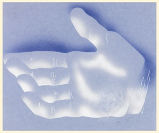 "Study of an open right hand, with fingers slightly cupped, shown in semi-abstraction against a blue ground. This hand is part of a larger motif for a poster or advertisement for Eno's Fruit Salt, in which the open hand is pouring ""fruit salt"" into a chalice."