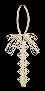 Passementerie for a dress front/collar. Fine white muslin tubular strips, stitched together with openwork bar accents, long zigzag and loop motif with large multi-strand bow at neck. 1930s.