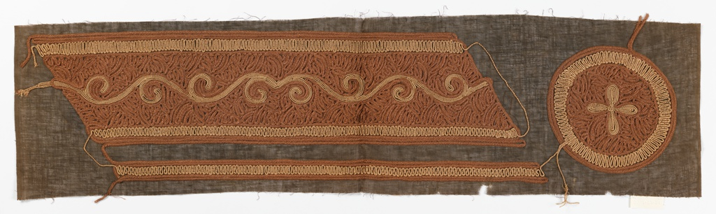 Embroidered bands and medallion. Densely couched faux straw braid in shades of brown, with scrolls in beige couched cord, on brown gauze ground.