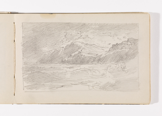 Rough sketch of waves crashing on beach at right. Long line of tall cliffs at right in distance.