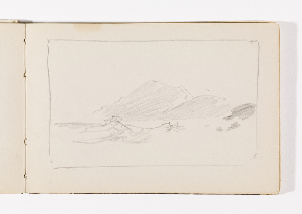Sketchbook Folio, Unfinished Study of Waves and Distant Hills