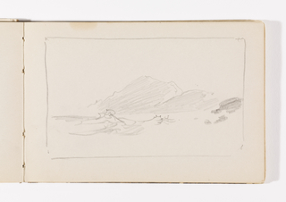 Unfinished sketch. Waves in left foreground and dark rocks at right. In center, along horizon, hills with two peaks.