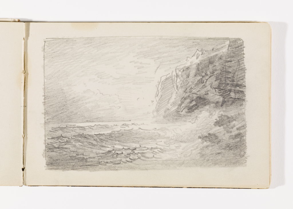 Sketchbook Folio, Quick Study of Waves on Rocks and Tall Dark Cliffs