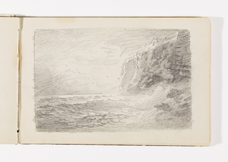 Choppy waves breaking against rocks in right foreground. Behind rocks, at right, cliffs in three sections stretch back towards horizon.