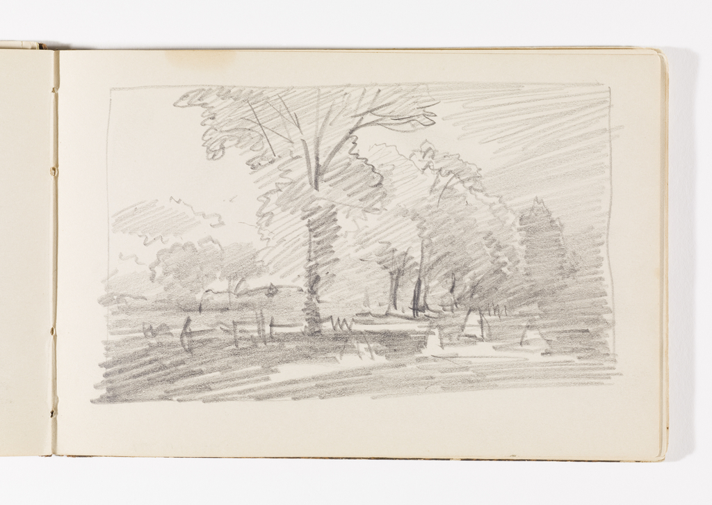 Rough sketch of countryside. One large tree in center middleground, additional trees across composition in distance, with haystacks.