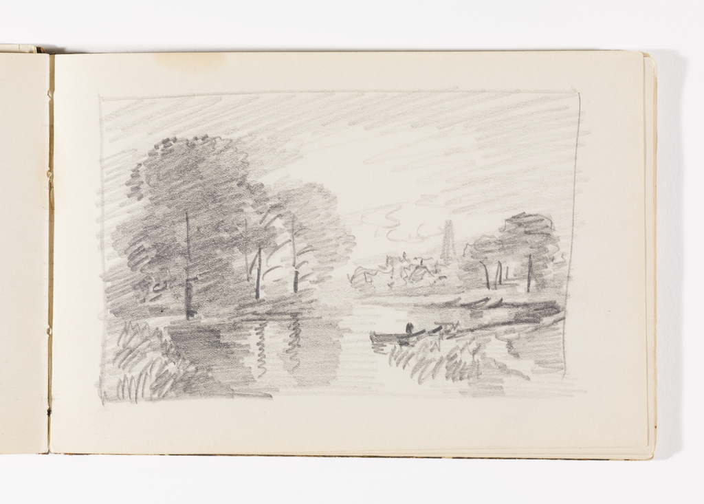 Sketchbook Folio, Country Stream with Boat and Possible Structures
