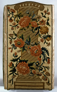 Four panel folding screen with two different designs, each appearing twice. One design is of a grapevine inside a twining scroll border. The second design is a curving column crossed with blossoming roses.