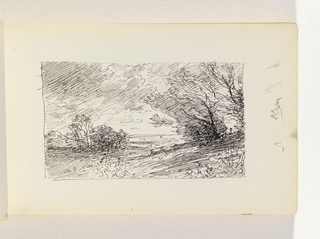 Hill with seemingly windswept trees in right middleground. Second hill with windswept trees in left distance. Flat land out to horizon in center, with dramatically cloudy sky. Miscellaneous pen in margin to right of image.