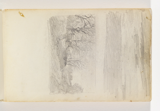 Sketch of country road leading around a bend to the left, with stand of trees at left.
