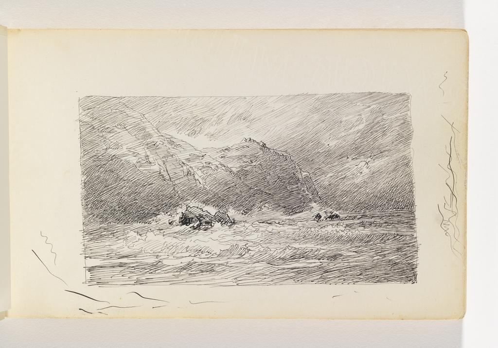 Waves on rocks below cliffs, at left.