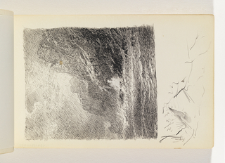 Sketch of waves and two levels of tall, dark cliffs at right,. Sun coming through clouds above cliffs, at center. Small sketch at bottom of page below image, possibly brief study of mountain, and miscellaneous pen marks in margin below image.