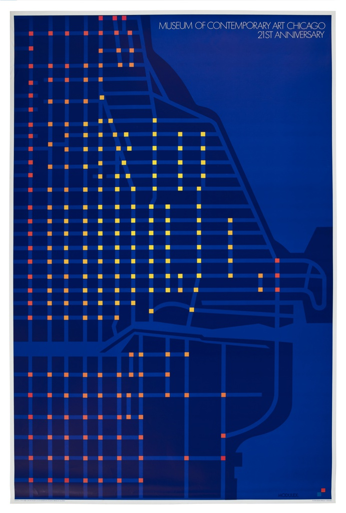 A stylized depiction of the gridded street map of Chicago's lakeside districts surrounding the Chicago River, including River North, Millennium Park, and Magnificent Mile, where the Chicago's Museum of Contemporary Art is located. The waterways (Lake Michigan and the Chicago River) and the streets are rendered in a cobalt blue, and the land mass is rendered in a dark navy blue. Street intersections are highlighted in orange and yellow squares. Upper right corner, in white capital letters: Museum of Contemporary Art Chicago / 21st Anniversary.