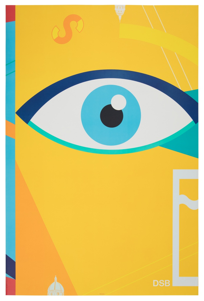 A stylized depiction of an eye in shades of blue against a predominantly yellow background. At left edge, primary-colored striations continue the form of a figure cut off by the margin. The letters S and E float at upper left and lower right, respectively. Silhouettes of two landmark buildings at top central edge and bottom left edge (possibly Cathedral of Santa Maria del Fiore, in Florence) in white.