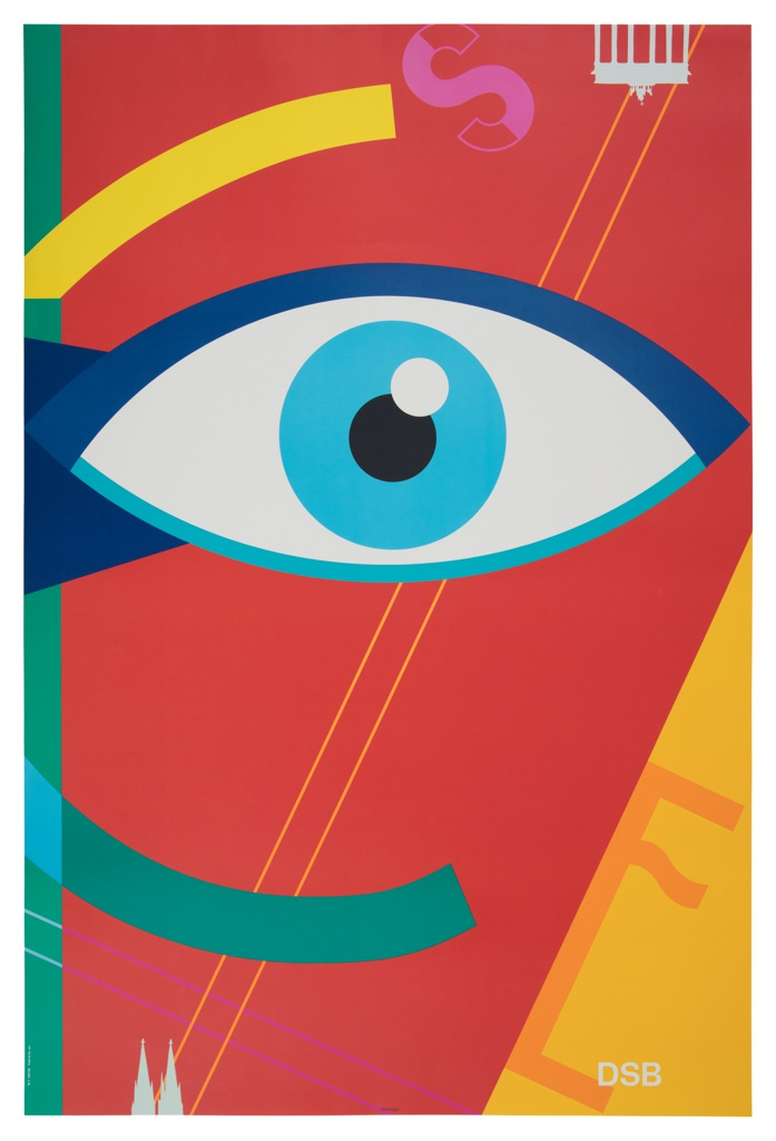 A stylized depiction of an eye in shades of blue against a predominantly red background. Linear protrusions in yellow and teal from left edge complete figures from an adjoining poster, cut off by margin. The letters S (pink) and E (orange) float askew at upper and lower edge, respectively. Silhouette of the Brandenburg Gate, upside down at top right, and (possibly) twin spires of the Cologne Cathedral at bottom left edge in white.