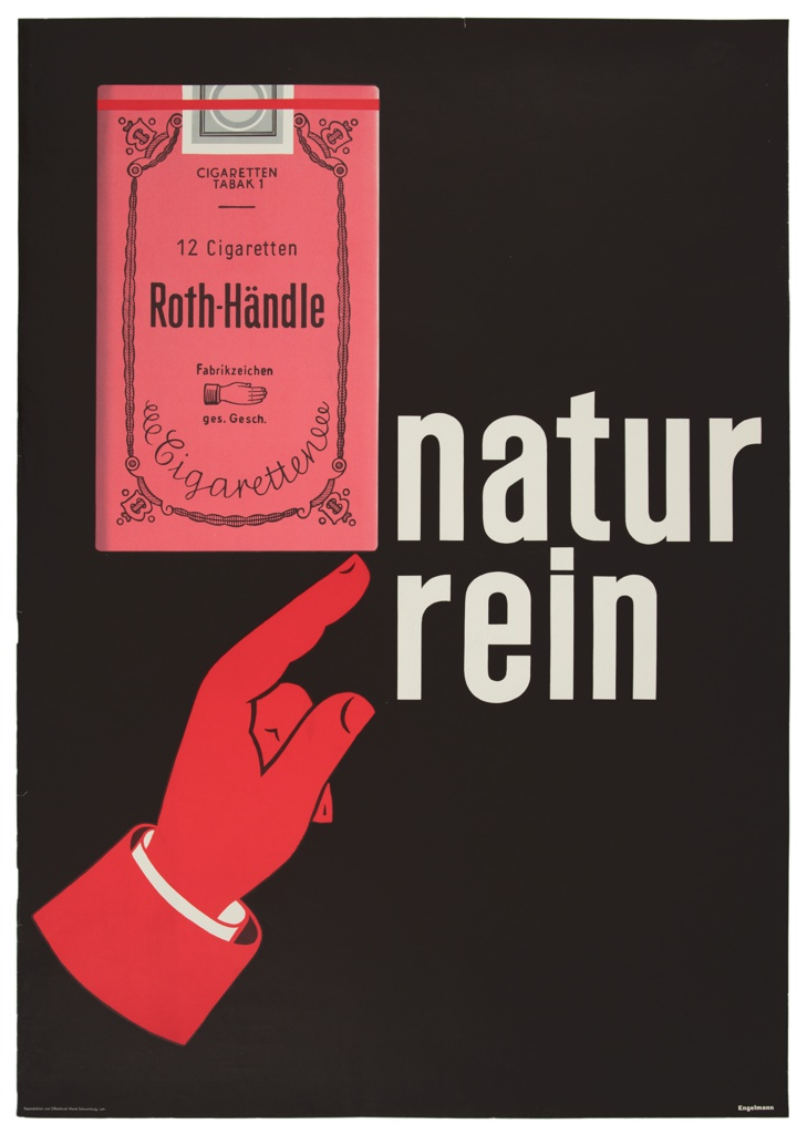 Against a black ground, a simplified depiction of a red hand points to the corner of a cigarette package with a rosy tint. To the right in a white sand-serif typeface, broken into two lines, 'natur/rein'