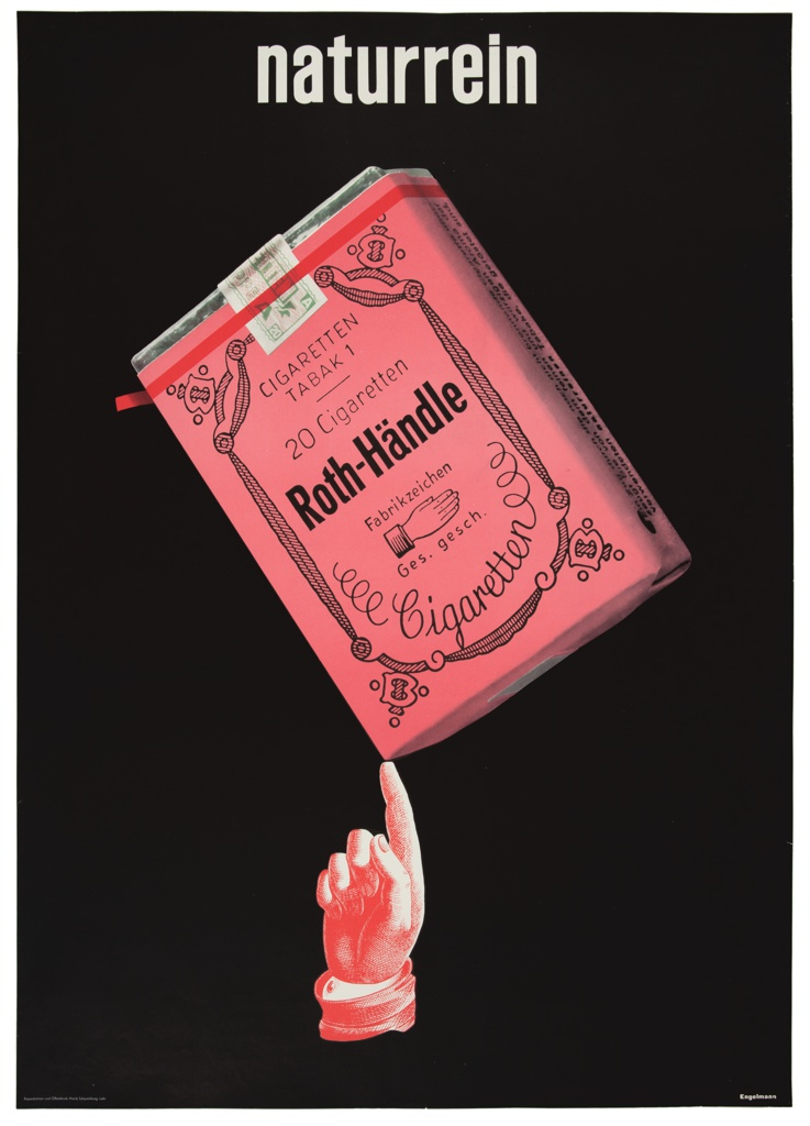 Against a black ground, a small red hand depicted in a style evocative of engraving balances a rosy cigarette package on an extended forefinger. Above, in a white sans-serif typeface, 'naturrein'.