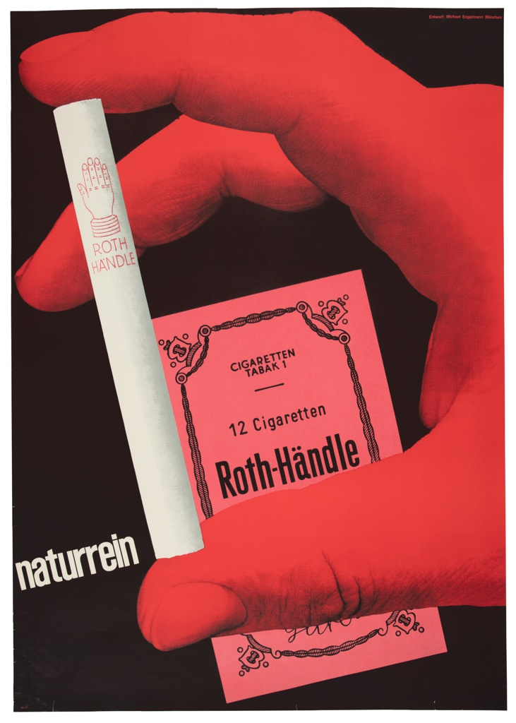 Against a black ground, a large red hand occupies most of the composition, holding a single white cigarette between thumb and forefinger. A rosy cigarette package behind. At lower left, askew, in a white sans-serif typeface, 'naturrein'.