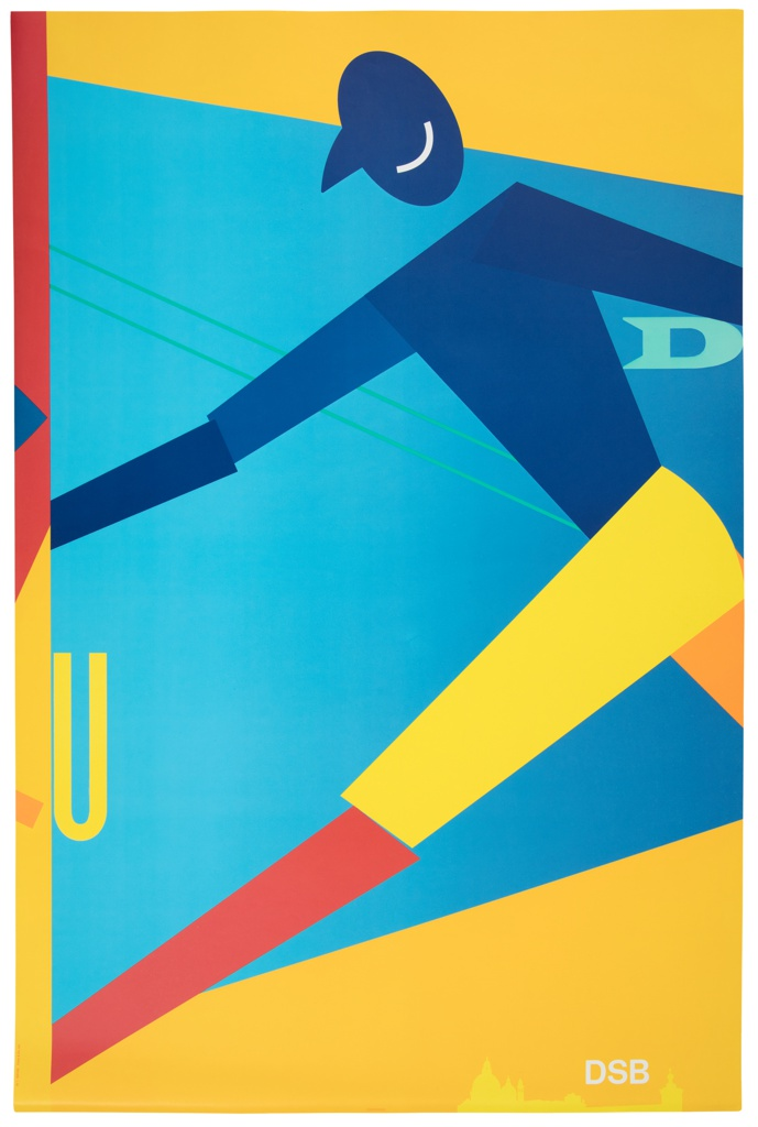 A lively composition of blocked variations of the primary colors. A figure comprised of angular volumes appears as if to move from right to left across the frame, mid-stride. The majority of the mid-section behind the figure is a bright blue, and triangular sections at top and bottom are yellow. At figure's mid-shin, a yellow U, and between torso and right arm, a light green D. At right edge, a band of color which finishes another poster, cut off by the margin. Silhouette of a landmark buildings at lower right edge, in lighter yellow.
