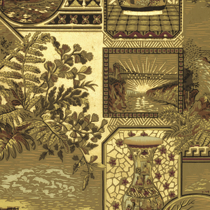 Anglo-Japanesque design.  Full width of a paper giving nearly two full repeats of a design composed of larger and smaller enframed motifs: views of Brooklyn Bridge (opened 1883), Niagara Falls, a ferry slip, a Western road, and vases and jars.  Printed in greens, browns, red and gold.