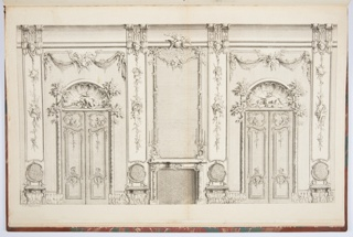 Ornately decorated elevation of interior wall with fireplace at center and flanking doorways and chairs. Decoration includes putti and follows the theme of hunting, showing spears, birds, large game animals, and dogs within scalloped lunettes above doorways