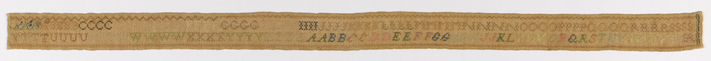 An unusually wide rectangular sampler, with alphabets in which each letter is repeated several times.