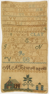 Bands of alphabets separated by narrow geometric borders, with the inscription: M A Tolwell Aged 8 At the bottom, houses and a tree.