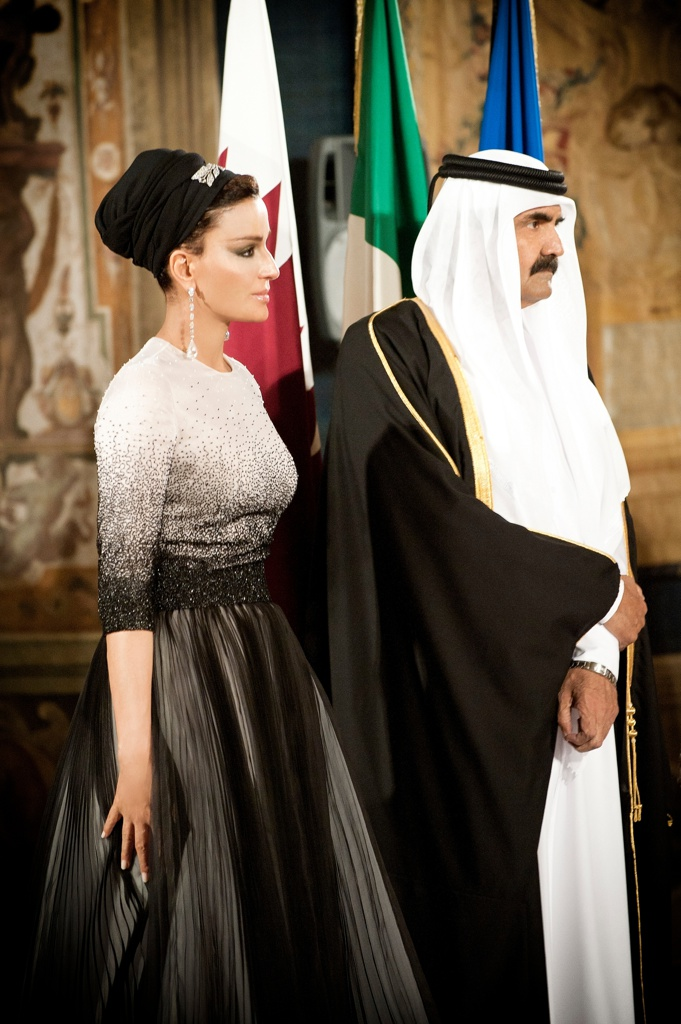 no checklist # Worn by Her Highness Sheikha Moza bint Nasser Al Missned at the Italian state-visit banquet in Rome, Italy, April 16, 2012