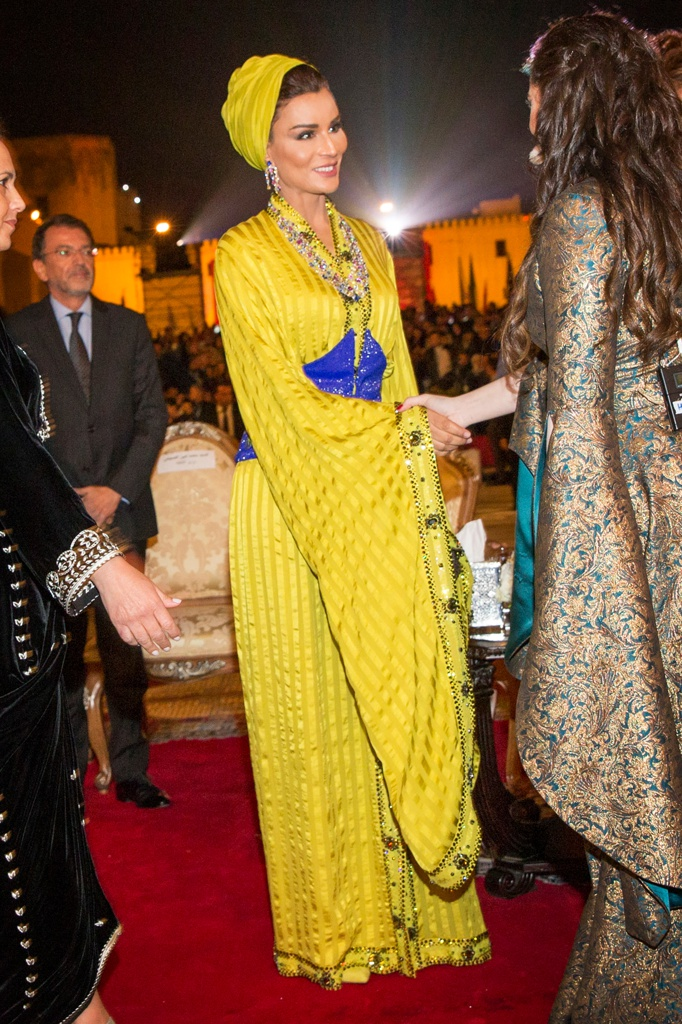 no checklist # Worn by Her Highness Sheikha Moza bint Nasser Al Missned to the opening ceremony of the 22nd Fez Festival of World Sacred Music, Fez, Morocco, May 7, 2016