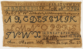 Bands of alphabets and numerals, in varied sizes and colors, and an inscription:   Wrote this when I was 12 years old AD 1805  Ann Mason was born in Sept the 23
