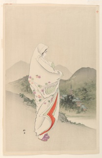 A woman, wrapped in a flowered shawl, contemplates a mountinous landscape with temples in the middle distance. Number ten of a series.