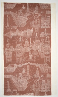 Length of light brown fabric has linear drawings of Parisian monuments in white.