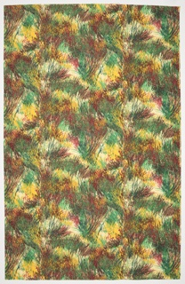 Length of printed cotton with an eye-catching mixture of colors intended to simulate the movement of dune grass. Resembling dry brush strokes, thin lines showing teal, brown, burgundy, and yellow are placed on top of a white ground.