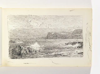Ocean against prominent rocks in left foreground, with additional rocks in right-middle ground. Cliffs in distance at right. Miscellaneous pen strokes in margin to right of image.
