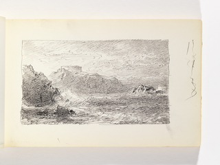Waves crashing against rock and cliff in left foreground. Second rock at right in middle ground. Large cliff in left-center distance with (possible) structure atop. Miscellaneous pen strokes in margin to right of image.