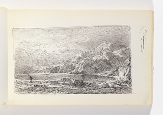 Rocky coastline surrpunding an inlet. A small figure carrying what is probably a fishing pole is in the left-middle gound at edge of water, There are large cliffs in the distance, at right. Miscellaneous pen strokes in the margin to the right of the image.