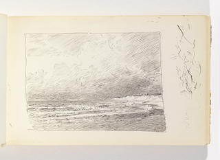 Waves coming into beach with outcropping of land in the distance at right. Well-defined, imposing clouds in the sky. Miscellaneous pen strokes in margin to right of image.