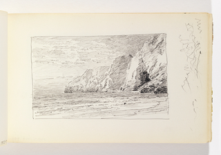 Waves coming ashore in foreground, three levels of cliffs at right in middle ground. Miscellaneous pen strokes in margin to right of image.