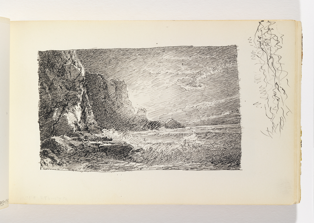 Large wave crashing against rocks in left foreground. Large, dark cliffs behind, at left, in two sections. Bright light shining out from behind second cliff.