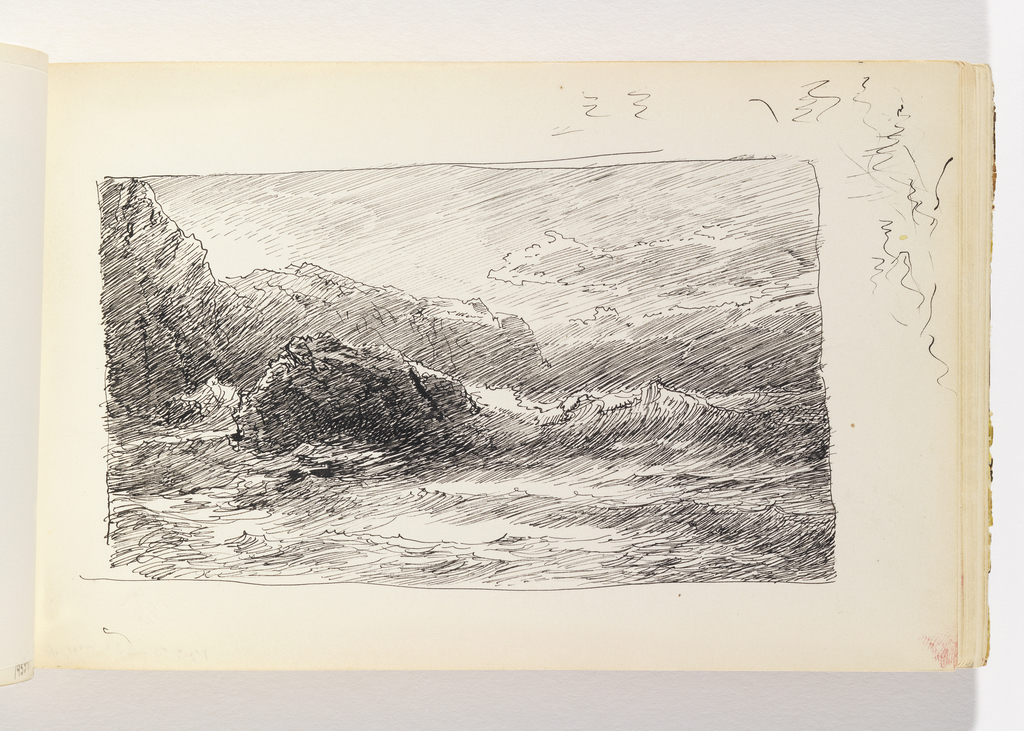 Waves crashing against a large rock in left-center middle ground, line of cliffs at left in distance. Mischellaneous pen in margin at top right of sheet.