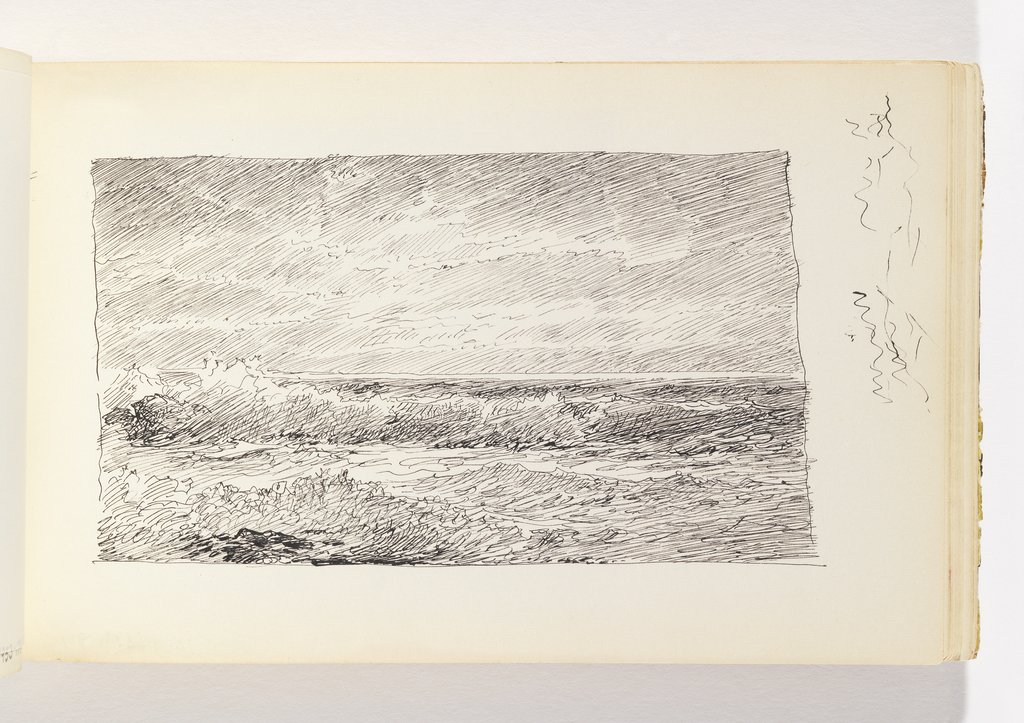 Large, foaming waves breaking against small rocks in left foreground and a larger rock in left middle ground. Miscellaneous pen strokes in margin at right of image.