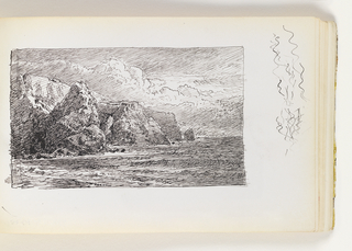 Waves coming into shore in left foreground. Tall cliffs in left at distance, nearest with pointed top. Miscellaneous pen strokes in margin at right of image.