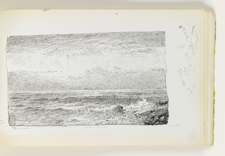View of ocean coming into shore amd against rocks in right foreground. Bright sky with sun coming through from behind clouds. Miscellaneous pen strokes in margin to right of image.
