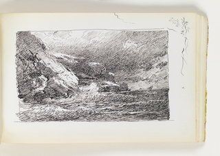 Waves crashing against large, wide cliffs in two sections, at left, under a dark sky. Miscellaneous pen in top right corner margin.