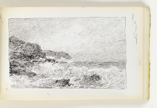 Large wave crashing against two rocks in foreground and cliff at left. Second set of cliffs in distance at left. 1