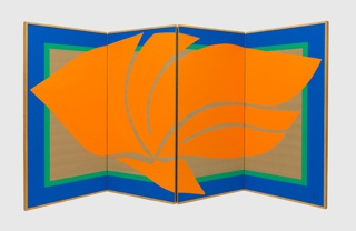 Fire-Orange Folding Screen