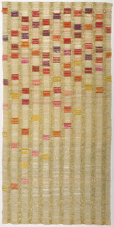 Curtain panel woven in off-white silk with gold metallic wefts which form open vertical stripes. With brocaded squares of  yellow, pink, orange and purple densely applied at the top and more sparsely in the lower two-thirds.