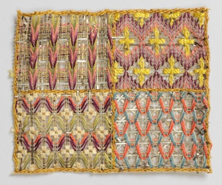 Each sample is a study for embroidery on a knotted net foundation. The samples are executed in multi-colored silks, often with the use of shades of one color, plus the addition of metal in each.